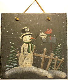 "SLATE DECORATION WITH SNOW PERSON & CARDINAL MAILING LETTER (HAS LEATHER STRIP FOR HANGING) MEASURES 9 1/2"" X 1/4"" X 11 1/4""  (WITH LEATHER STRIP) AND WEIGHS ABOUT 24 OZ PLEASE BE CAREFUL, THIS IS NATURAL SLATE, IT WEIGHS ABOUT 24 OUNCES AND THE EDGES MAY BE VERY SHARP."