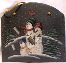 """SLATE W/LEATHER STRIP FOR HANGING ARCHED TOP SNOWMEN HAVING SNOWBALL FIGHT MEASURES 10"""" X 1/4"""" X12 1/2"""""""" AND WEIGHS ABOUT 24 OZ PLEASE BE CAREFUL, THIS IS NATURAL SLATE, IT THE EDGES MAY BE VERY SHARP."""