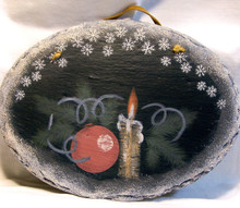 """SMALL OVAL SLATE WITH LEATHER STRIP FOR HANGING CANDLE & DECORATIONS 10 1/2"""" X 1/4"""" X 8"""" SLATE WEIGHS ABOUT 24 OZ PLEASE BE CAREFUL, THIS IS NATURAL SLATE, THE EDGES MAY BE VERY SHARP."""