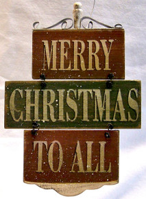 "MERRY CHRISTMAS TO ALL SMALL WOOD, WIRE & METAL VINTAGE SIGN MEASURES 4 7/8"" X 3/8"" X 7"""