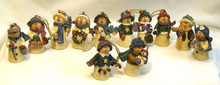 "SET OF 12 HAND MADE SNOWPEOPLE EACH MEASURES APOX 1 1/8"" X 1 1/4"" X 2 1/2"""