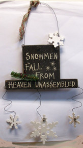 "SNOWMEN FALL FROM HEAVEN UNASSEMBLED  MEASURES 8 3/8"" X 1/4"" X 17 1/2"" OA"