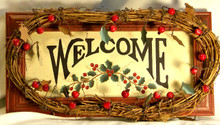 """WELCOME WOOD SIGN WITH VINE, BERRY & LEAF DECORATIONS MEASURES 11 3/4"""" X 1 1/2"""" X 6"""""""