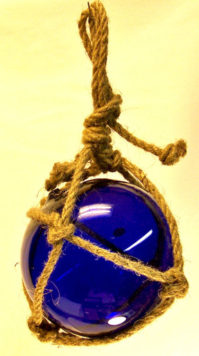 """SMALL DARK BLUE GLASS FLOAT  MEASURES 5"""" X 5"""" X 10"""" WITH ROPE"""