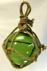 "SMALL GREEN GLASS FLOAT MEASURES 5"" X 5"" X 10"" WITH ROPE"