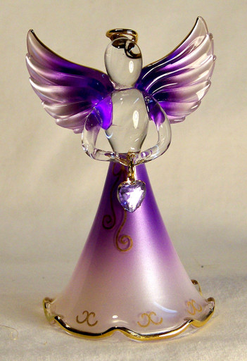 "BIRTHSTONE ANGELS JUNE (ALEXANDRITE) GLASS ANGEL HOLDING LIGHT PURPLE GLASS HEART 22K GOLD TRIM  MEASURES 2 3/16"" x 2 1/16"" x 3 3/4"""