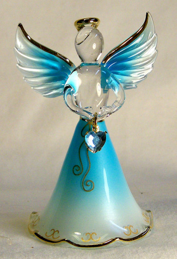 "BIRTHSTONE ANGELS DECEMBER (TURQUOISE) GLASS ANGEL HOLDING LIGHT BLUE GLASS HEART 22K GOLD TRIM  MEASURES 2 3/16"" x 2 1/16"" x 3 3/4"""