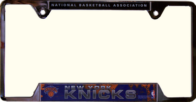 "NEW YORK KNICKS METAL LICENSE PLATE FRAME  MEASURES 12 1/4"" X 1/4"" X 6 1/4"""