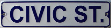 "CIVIC ST SMALL 12"" EMBOSSED METAL STREET SIGN MEASURES 12"" X 3"""