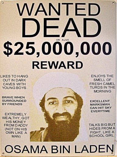 "OSAMA BIN LADEN WANTED POSTER HEAVY METAL VINTAGE ENAMEL SIGN MEASURES 12"" X 16"""