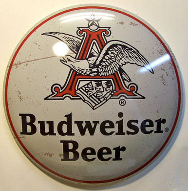 "BUDWEISER BIG A ROUND DOMED VINTAGE TIN SIGN  MEASURES 15  7/8""  X  15  7/8""  X  2 1/4"" DEEP"