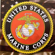 "MARINES LOGO, SQUARE TIN SIGN MEASURES 12"" X 12"""