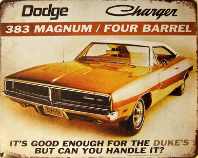"DODGE CHARGER ""DUKES"" VINTAGE TIN SIGN MEASURES 15"" X 12""  WITH HOLES IN EACH CORNER FOR EASY MOUNTING"