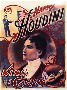 "HOUDINI KING OF CARDS VINTAGE ENAMEL SIGN S/O MEASURES 12"" X 16"" WITH HOLES IN EACH CORNER FOR EASY MOUNTING THIS SIGN IS ON HEAVY STEEL WITH AN ENAMEL FINISH.  THIS SPECIAL ORDER SIGN TAKES TWO TO THREE WEEKS FOR SHIPPING BUT THERE IS NO ADDITIONAL COST FOR A SPECIAL ORDER SIGN."