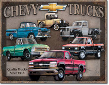 "CHEVY TRUCK TRIBUTE vintage tins sign measures 16"" x 12 1/2"" with holes in each corner for easy mounting"