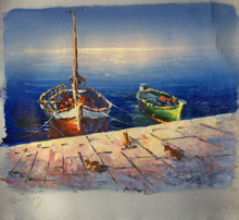 Photo of CATS ON WARF BY FISHING BOATS SMALL SIZED OIL PAINTING