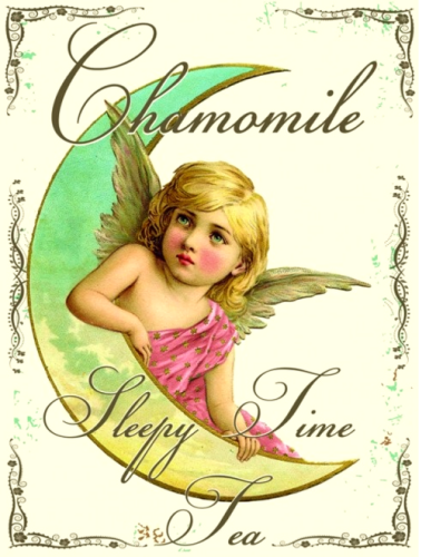 Photo of CHAMOMILE TEA FAIRY ENAMEL SIGN, BEAUTIFUL OLD TIME GRAPHICS AND RICH ELEGANT COLORS
