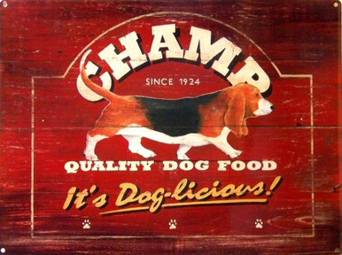 Photo of CHAMP DOG FOOD ENAMEL SIGN, GREAT RICH COLORED BASSET HOUND DOG FOOD SIGN