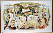 Photo of CHAMPION LABEL, OLD FASHION CIGAR SIGN, WITH OLD TIME PICTURES OF BILL CODY, AXEL PAULSEN, J. SCHAFER, KID McCOY, JIMMY MICHAEL, TOD SLOAN & WM . EWING