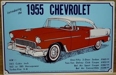 Photo of CHEVY ADD 1955 SIGN,  WITH PERTINATE DATA ON THE CAR, GREAT NOSTALGIC SIGN
