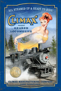 CLIMAX GEARED LOCOMOTIVE VINTAGE MANF. CORBY ,PA  heavy metal (Sublimation Process) Sign  S/O