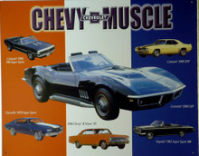 Photo of CHEVY MUSCLE CARS SIGN, INCLUDES: 69 CORVETTE L89, 69 CAMARO Z28, 68 CAMARO 396 SS, 70 CHEVELLE SS, 66 CHEVY II NOVA SS, 62 IMPALA 409 SS
