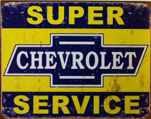 Photo of CHEVY SUPER SERVICE (RECTANGLE) SIGN, HAS MUTED COLORS AND GRAPHICS AND GENUINE SIMULATED RUST FOR THAT OLD TIME LOOK