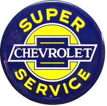 Photo of CHEVY SUPER SERVICE ROUND SIGN WITH BLUE, YELLOW AND WHITE COLORS AND GRAPHICS
