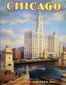 Photo of CHICAGO GREY GOOSE AIRLINES INC. SIGN NOSTALGIC DETAILS AND COLOR GREAT RETRO SIGN