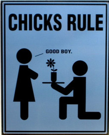 Photo of CHICKS RULE HUMOUROUS SIGN