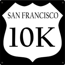 SAN FRANCISCO MARATHON SIGN ON 24 GAGUE STEEL WITH HIGH QUALITY ENAMEL FINISH (THESE SIGNS FULLY CUSTOMIZABLE) S/O