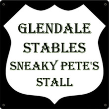 GLENDALE STABLES * SNEAKY PETE'S STALL FULLY CUSTOMIZABLE ENAMEL SIGN S/O
