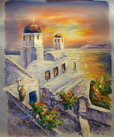Photo of CHURCH BY SEA AT SUNSET SMALL SIZED OIL PAINTING