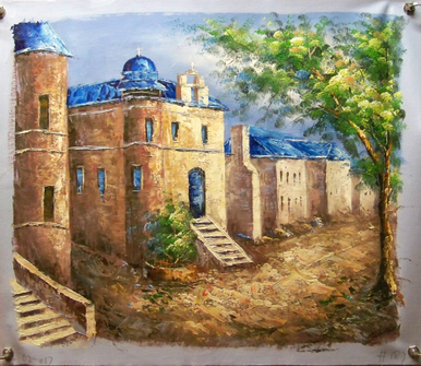 Photo of CHURCH WITH BLUE ROOFS MEDIUM  SIZED OIL PAINTING