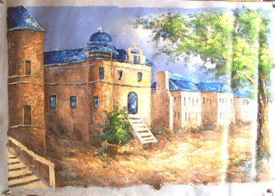 Photo of CHURCH WITH BLUE ROOFS MEDIUM LARGE SIZED OIL PAINTING