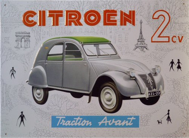 Photo of CITROEN  TRACTION AVANT FRENCH CAR FROM THE PAST HAS GREAT GRAPHICS AND MUTED COLORS