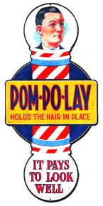 POM POLAY HAIR TONIC SHAPED BARBER - BEAUTY SHOP  (Sublimation Process) Vintage metal Sign S/O