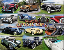 CLASSIC CAR COLLAGE (LARGE) (Sublimation Process) Vintage metal Sign Corners Rusted for Weathered Look S/O