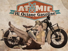 ATOMIC GASOLINE MOTORCYCLE VINTAGE ENAMEL SIGN ON HEAVY 24 GAUGE METAL   S/O