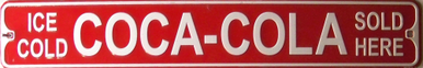 Photo of COCA-COLA SMALL EMBOSSED STREET SIGN HAS GREAT COKE COLORS