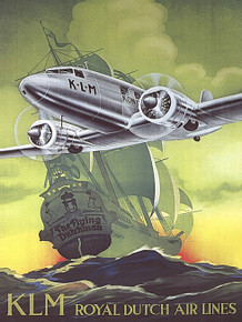 KLM AIRLINES VINTAGE ENAMEL FINISH ON HEAVY 24 GAUGE METAL SIGN S/O