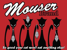 MOUSER BRAND CAT FOOD RETRO ENAMLE FINISH ON HEAVY 24 GAGUE METAL SIGN  S/O