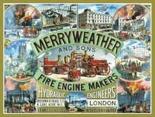 MERRYWEATHER FIRE ENGINES ENAMLE FINISH ON HEAVY 24 GAGUE METAL SIGN  S/O