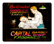 CAPITAL BARBER SHOP  (Sublimation Process) Vintage metal Sign S/O