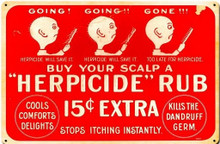 "HERPICIDE RUB BARBER BEAUTY SHOP ""KILLS THE DANDRUFF GERM"" (Sublimation Process) Vintage metal Sign S/O"