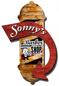 "3-D BARBER SHOP ""PERSONALIZED""  WHAT TEXT WOULD YOU LIKE? (Sublimation Process) Vintage metal Sign S/O"