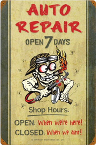AUTO REPAR SHOP HOURS RUSTED CORNERS FOR VINTAGE LOOK) (Sublimation Process) Vintage metal Sign Corners Rusted for Weathered Look S/O
