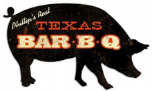 PERSONALIZED BBQ (BARBECUE) PIG SHAPED  (Sublimation Process) Vintage metal Sign S/O