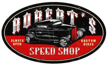 PERSONALIZED LATE NIGHT SPEED SHOP OVAL   (Sublimation Process) Vintage metal Sign S/O