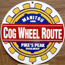 Photo of COG WHEEL RR MUSEUM, PIKES PEAK RAILWAY SIGN HAS BRIGHT COLORS AND GREAT DETAILS